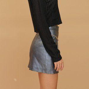 Metallic silver vintage designer leather skirt